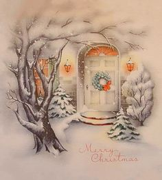 Lovely Vintage Christmas Card ~ Cozy, Warm Home with Orange window-glow