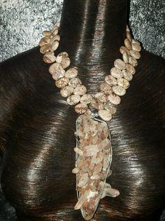 Quartz Pendant Necklace Unisex Gemstone Statement Necklace Earthy Quartz on Matrix Autumn Jewelry Raw Rough Boho Chic Gemmy Couture Dramatic by KATROXWEARATTITUDE on Etsy