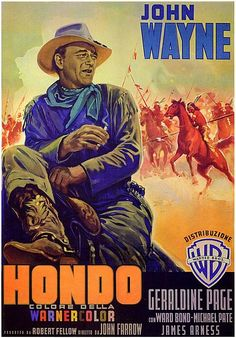 "Hondo is a Warnercolor 3D Western film made in 1953, starring John Wayne, directed by John Farrow. The screenplay is based on the July 5, 1952 Colliers short story ""The Gift of Cochise"" by Louis L'Amour. The book Hondo was a novelization of the film also written by L'Amour, and published by Bantam Books in 1953"