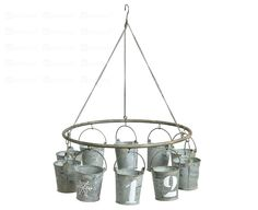 hanging buckets Unique Gardens, Garden Spaces, Buckets, Chandelier, Ceiling Lights, Make It Yourself, Trends, Spring, Summer