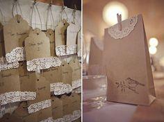 Detalles para invitados de boda con blondas de papel