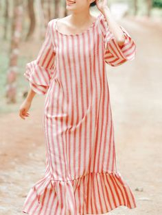 b5481050f5 Flounce Bell Sleeve Cotton-blend Casual Stripes Midi Dress. Striped Midi  Dress