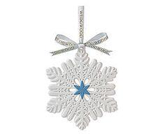 Porseleinen kerstboomhanger Snowflake, wit/blauw, H 10 cm