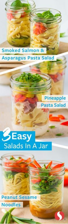 Three Mason Jar Salads— Simplify on the go meal planning with these flavorful mason jar salads! These unique salads featuring Signature Kitchens™ quality pastas are perfect for mixing up busy weekday lunches. Place the dressing at the bottom of the mason jar to keep ingredients fresh until tossing at lunch!