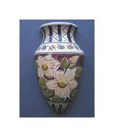 "Vintage Hand Painted Large Ceramic Wall Pocket Vase; Magnolia Type Flowers; CBK Ltd LLC; Inverted Teardrop Shape; Flat Back; 9""H x 5""W x 2""D"