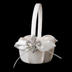 Flower Girl Basket 17 with Silver Clear Fleur De Lis Brooch 109