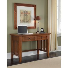 Mission Styling at its best!  The Arts and Crafts Student Desk embellishes typical mission styling with framed doors showcasing raised wood, lattice moldings on the two storage drawers and slightly flared legs.