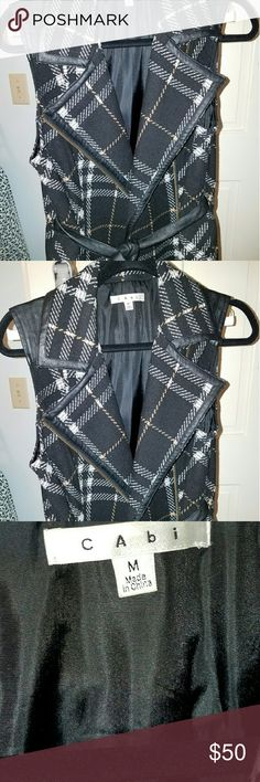 Plaid suit or casual vest Beautiful detailed zip wool vest with leather detail and tie.  Black off white with gold subtle detail. CAbi Jackets & Coats Vests