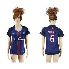 PSG Trøje Dame 16-17 #Verratti 6 Hjemmebanetrøje Kort ærmer,208,58KR,shirtshopservice@gmail.com