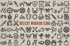 Ancient Warrior Icon Pack - 72 Icons by Lemonade Pixel on Creative Market