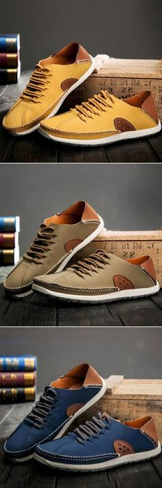 Men Stylish Pure Color Soft Non-slip Lace Up Outdoor Casual Leather Shoes