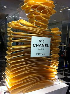 Category 3 (Texture). Use of soft ribbon to construct outline of Chanel perfume bottle.
