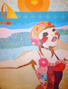 """""""Seaside"""" is another paper collage art piece."""