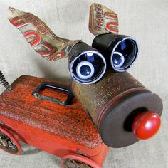assemblage sculpture - RUDY - The Red Nose Robot Dog