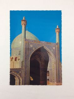 Vtg Postcard The Dome And Minaret Of Shah Mosque Isfahan Iran 1960's Photo