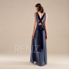 Bridesmaid Dress Steel Blue Chiffon Wedding Ruched V Neck Maxi Criss Cross Straps Prom Long A Line Party H038