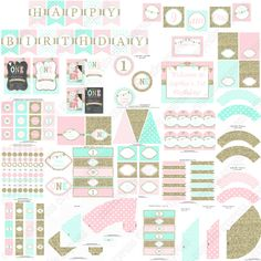 One First Birthday girl pink mint gold от CupcakeExpress на Etsy