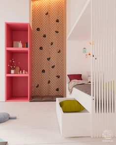 Modern bunk bed project for a girl with climbing wall ... moderan krevet na sprat za devojčicu ... #girlsroom #bunkbed #krevetnasprat #sobezadevojcice #kidsplayroom