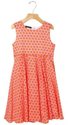 587d157ab6 Heart print in happy orange on pink cotton voile dress for girls.  european-made high quality fancy enough for a beach party.
