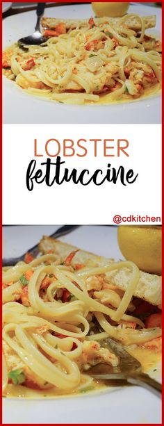 Lobster Fettuccine - Lobster is mixed with a white wine-cream sauce and served with fettuccine pasta. If you don't have lobster you can substitute other seafood such as shrimp, scallops, or crab. - Made with lobster, olive oil, garlic, basil, Asiago or Parmesan cheese, heavy cream, fettuccine pasta, red and green bell peppers, red onion, white wine | CDKitchen.com
