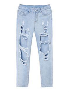 Retro Sexy Women Zipper Ripped Long Denim Jeans