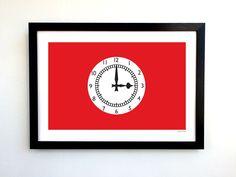 Arsenal FC A3 Highbury Stadium Clock End Design Art Print by GroundDesigns #afc #arsenal #gooners #gunners