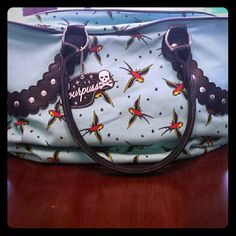 """Vintage Swallow Print Tote Purse by Sourpuss Vintage, nautical sailor swallow bird print with stars. Teal blue. Never used,  bought new. Measurements are 17""""w x 11 1/2"""" h Sourpuss Bags Totes"""