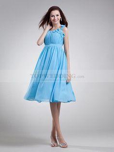 Straps Pleated Chiffon A Line Knee Length Bridesmaid Dress
