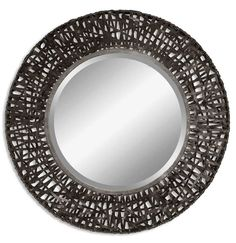 Mirror features a metal frame with black woven metal details. Mirror has a generous 1 bevel. -Mirror/Glass Dimensions: 24 x 24 -Carolyn Kinder Uttermost - 11587 B Metal Mirror, Round Wall Mirror, Wall Mounted Mirror, Beveled Mirror, Black Mirror, Round Mirrors, Mirror Mirror, Unique Mirrors, Mirror Glass