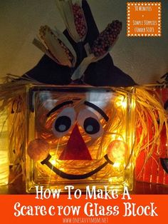 One Savvy Mom™ | NYC Area Mom Blog : Fall Glass Block Craft Tutorial - How To Make A Scarecrow, Mummy & Pumpkin