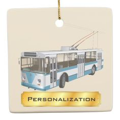 #Personalized Travel by Trolley Bus Ceramic Ornament - #travel #trip #journey #tour #voyage #vacationtrip #vaction #traveling #travelling #gifts #giftideas #idea