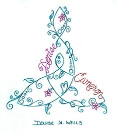 Mother and Child Knot Tattoo Design by Denise A. Wells including names and small flower blooms...
