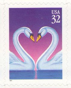 10 Unused 1997 32 Cent Love Swans  Postage by MyVintagePostOffice
