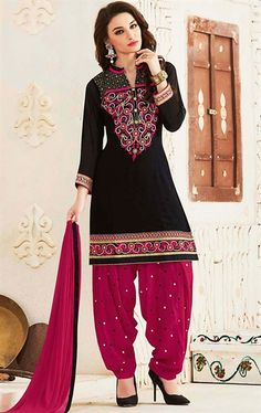 Picture of Captivating Black and Deep Pink Patiala Salwar Suit