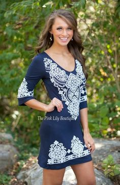 Lasting Impression Dress Navy Curvy
