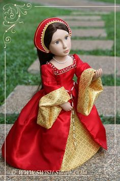 Tudor gown for Matilda, A Girl All for Time doll, by Swish & Swirl.