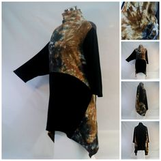 3X Plus size tie dye tunic top with funnel neck, pockets and asymmetrical hemline. by qualicumclothworks on Etsy