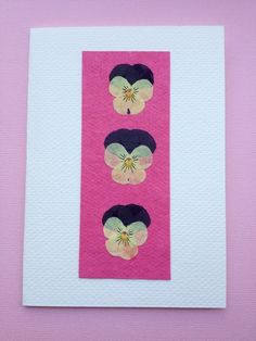 SALE Handmade Greetings Card Pressed Violas on Bright Pink £2.00
