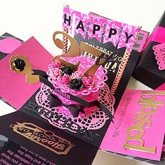 Happy 27th Birthday Explosion Box Card In Black And Hot Pink on Carousell