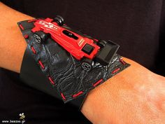 Red & black leather toy car bracelet by Beegeo on Etsy, €23.00