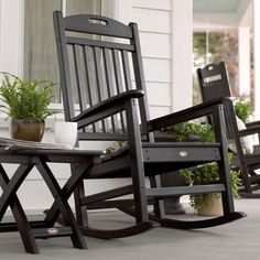 Classically designed with a contoured back and arms, this rocking chair will quickly have your front porch the place to be.