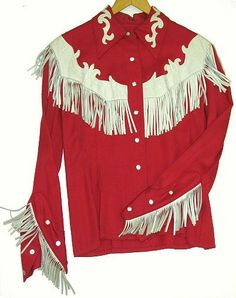 Red fringed 1950s Ranch Maid shirt Cowboy Outfits, Country Outfits, Western Outfits, Western Shirts, Vintage Western Wear, Western Wear For Women, Vintage Cowgirl, Cowgirl Chic, Cowgirl Style