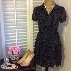 "Lauren Conrad Dress Beautiful ruffled polka dot dress by Lauren Conrad. Buttons in front. Size 4. Bust 36"" length 35"". Black and white Lauren Conrad Dresses Midi"
