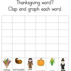 Clap and graph number of syllables in Thanksgiving words. $