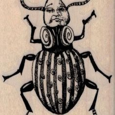 Whimsical Beetle Man 2 1/4 x 3 rubber  stamp   steampunk zentangle  art stamps original design by Mary Vogel Lozinak no 19525