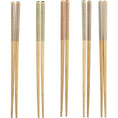 Crate & Barrel Set of 5 Striped Bamboo Chopstick Pairs ($4.95) ❤ liked on Polyvore featuring home, kitchen & dining, flatware, fillers, food, kitchen, misc, crate and barrel, colored silverware and crate and barrel flatware