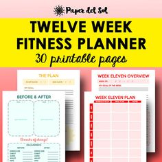 | Printable Fitness Planner, Weight Loss Journal | Use this fitness journal as a printable health and fitness planner, a printable workout planner and as a printable weight loss planner! The Twelve Week Fitness Planner is designed for those that want to successfully implement change in twelve weeks.  https://www.etsy.com/listing/387211688/fitness-printable-weight-loss-journal