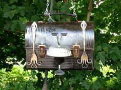 Repurposed black metal lunchbox birdhouse by AnyOldeIdea on Etsy