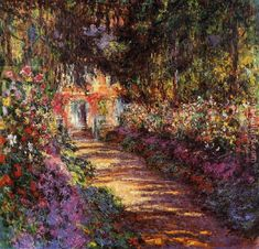 Pathway in Monet's Garden at Giverny by Claude Monet. I will forever love Claude monet. Monet Paintings, Impressionist Paintings, Famous Landscape Paintings, Pierre Auguste Renoir, Oil Painting Reproductions, Fine Art, Henri Matisse, Art And Architecture, Art Photography