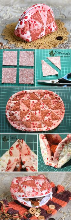 Makeup Cosmetic Bag Patchwork. How to make DIY tutorial sewing quilt http://www.handmadiya.com/2016/06/cosmetic-bag-in-patchwork-technique.html
